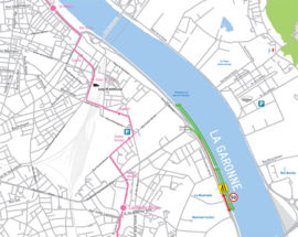 Travaux Pont Simone-Veil - Carte des modifications de circulation quai de Brienne à Bordeaux du 8 au 12 janvier 2018